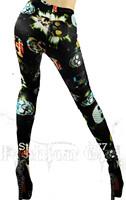 Free shipping 2014 European digital printing colours in selling flat Lady star skull skull leggings