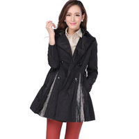 ladies fashion slim medium-long black skirt-style trench coat
