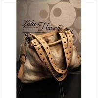 2014 fashion bags faux bag fashion rivet women's handbag messenger bag cx1333