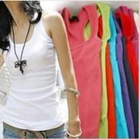 Quality Guarantee Women's Cotton T-Shirts Tank Tops Pure Color summer sleeveless vest basic shirts 20 colour