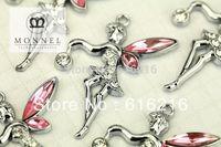 M48b Wholesale 10pcs Custom alloy  Pink Clear  Fairy Angel Charms Pendants