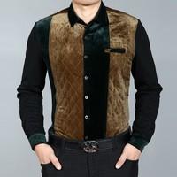 2013 men's winter clothing long-sleeve shirt men's clothing long-sleeve shirt male thickening thermal casual patchwork shirt