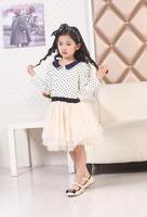 Spring girl dress gauze lace long-sleeve dress polka Dot Dress