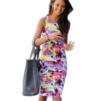 Hot Sales Ladies Celeb Inspired Tie Dye Splash Print Bodycon Midi Dress Ladies Winter Spring Dress LC6232 Free Shipping