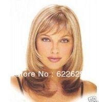 FREE SHIPPING >>Stunning Medium Blonde mix brown women's hair full wig     brazilian human queen Kanekalon Hair Cosplay Wigs