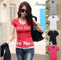 2014 New women solid color plain short-sleeve Round-neck T-shirt female t-shirt women's clothing basic t shirt A127