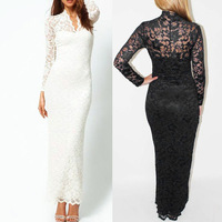 Slim V-neck lace full lace long-sleeved dress sexy package hip hollow  free shipping