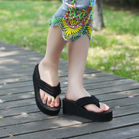 Free shipping Summer paillette paltform flip flops cloth slip-resistant women's platform wedges sandals slippers sandalia