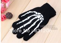 2014 guantes men gloves man New Fashion individuality Joint keep warm Skull Knit Glove soft comfort skeleton Glove  Skull gloves