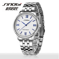 SINOBI Luxury brand sports Watch men Quartz Watches Auto time Dress wristwatch military watches man full steel watch