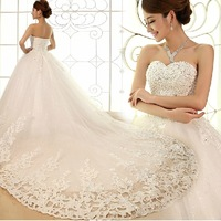Hot sale new arrival  tube top princess rhinestone wedding dress big cout train wedding dress Freeshipping