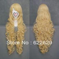 VOCALOID Miku Lolita Long curly cosplay wig fringe vanilla blonde brazilian human queen Kanekalon Hair Cosplay Wigs