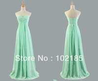 Mint Bridesmaid Dress Elegant Floor Length Sweetheart Wedding Party Long Chiffon Cheap Bride Maid HDG6