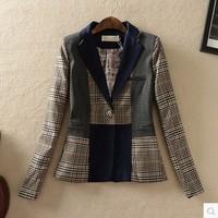 2014 women's spring outerwear fashion vintage patchwork plaid fashion shoulder pads blazer suit