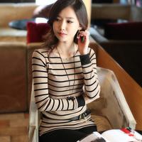 2014 spring new arrival slim long-sleeve o-neck T-shirt womens plus size stripe  basic t shirt
