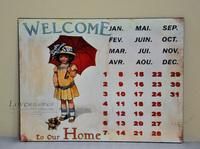 Fashion French vintage retro finishing iron sheet calendar calendar muons decoration paintings