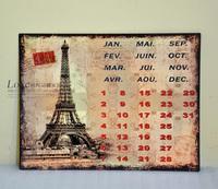 Fashion calendar metal calendar wall hanging wall decoration vintage retro finishing paintings