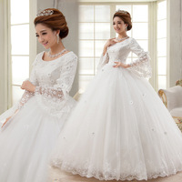 2014 new famous design long-sleeve lace spring autumn and winter wedding dress princess bride dress Freeshipping
