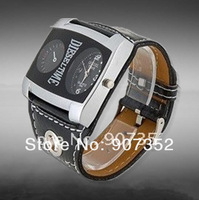 New 9580 Leather Strap Men Boys' Watch big quadrate dial wrist watch(white.brown.black)+free shipping