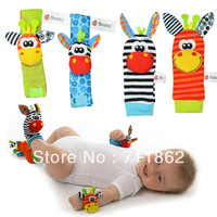 Free Shipping promotion baby rattle toys Garden Bug Wrist Rattle and Foot Socks plush baby toys