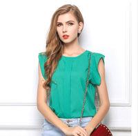 Fashion Quality Crewneck Ruffle Shoulder Chiffon Tops T-Shirts Blouse