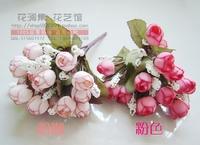 Free Shipping 2014 New Fashion silk flower artificial plastic flower wedding decoration small tea rose