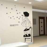 Cute Dreaming Girl Blow Dandelion Wall Sticker Decals Decor Removable Kids Ral