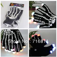 Free Shipping 2pcs(1pair)7 Modes Color Changing LED Glove LED Finger Light Skeleton Bones motorcycle  bike  Gloves for Party