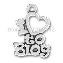 rhodiumr plated i love to blog Alphabet pendant charms 50 pcs a lot(China (Mainland))