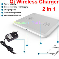 2 in 1 Qi Wireless Charger Transmitter Pad For Nokia Lumia 820 920 Google Nexus 4 Nexus 5 Samsung Iphone Charging Pad