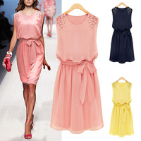 Womens Chiffon Handmade Bead Shoulder Bow Belt Sleeveless Pleated Vest Dress