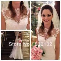 2014 Brazilan Girl High Collar Cap Sleeve Appliqued Beaded Mermaid Design Vestidos Wedding Dresses