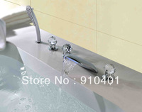 Free Shipping Wholesale And Retail Promotion Modern LED Waterfall Bathroom Tub Faucet Bathtub Mixer Tap Shower Chrome 5PCS