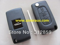 car key blank & Peu  flip remote key shell housing 3 button VA2 blade non-grooved without battery holder (free shipping)