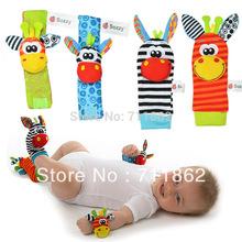 envío gratis promoción nuevo estilo( 4pcs=2 waist+2 piezas piezas calcetines) sonajero juguetes jardín de errores y los pies calcetines muñeca sonajero(China (Mainland))