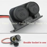 Free shipping New Twin Double 12v Waterproof Socket Motorbike Motorcycle Cigarette Lighter Adaptor