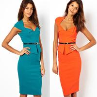 Fashion ol slim ruffle one-piece dress pencil skirt