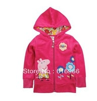 Free shipping! Top quality Brand Nice Pink Peppa pig&flowers Coat with hat for baby in Winter and Autumn children' favorites