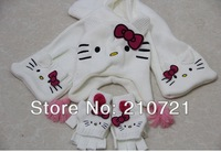 Retail 2014 New Style cute kids hello kitty autumn/winter hat+scarf+gloves set, children hat, girls hat, scarves