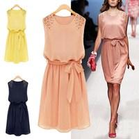 New 2014 Summer Novelty Women Sleeveless Dresses Chiffon Pleated Bow Dress Vestidos , Pink, Yellow, Royal Blue, M, L, XL