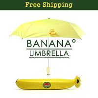Free Shipping Creative Banana Umbrella Um-banana Yellow Three-folding Umbrella Anti-uv Sun Rain Umbrella Cartoon Woman Umbrella