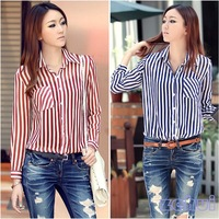 Free & Drop shipping Office Ladies Button Career Stripe Shirt Long Sleeves Tunic Ladies Chiffon Shirt