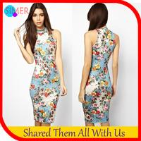 2014 New Fashion Women's Print Flower Knee-length Novelty Dresses Off the Shoulder Sexy Bodycon Elasticity Bandage Dress