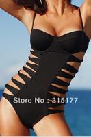 Free shipping Black Push-up Cut-out One-piece Swimsuit Beach Wear Women 2014 Newest Sexy Swimwear Wholesale 10pcs/lot  40631