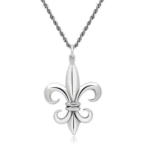 New Arrivals Free Shipping Unisex Stainless Steel Fleur De Lis Pendant Necklace High Polish No Coating Nickel Free & Lead Free(China (Mainland))