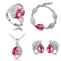 =Austrian crystal jewelry crystal necklace -  American jewelry sets, necklaces+earrings+ charm bracelet+rings  4 sets
