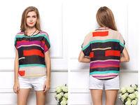 new 2014 women blouse shirt Multi-colour print Stripe Loose Short Sleeve Chiffon Shirt Brand casual plus size summer blouse
