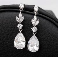 Clear Zircon Crystal Water Drop Dangle Earrings Fashion Elegant Jewelry Bridal Wedding Earring AAA Cubic Zirconia Earrings