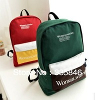 Hot sales canvas backpack bags with strip color fashion school bags both for girl and boy