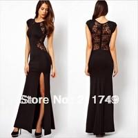 Women's slim long dress sexy hollow-out  split dress lace dress lace hollow-out sexy dress